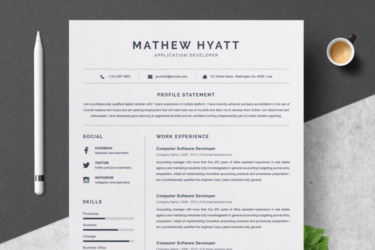 Clean Resume / CV Template example image 1