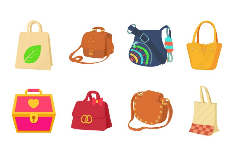 Bag icon set, cartoon style example image 1