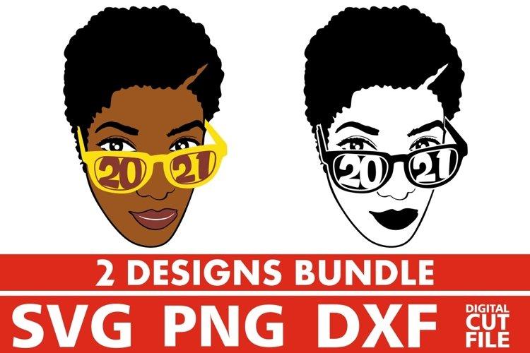 2x Black Woman in Glasses Bundle svg, Melanin svg, 2021 year example image 1