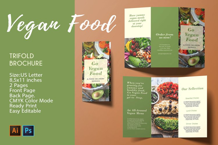 Trifold Brochure Vegan Food |2 PSD/AI Templates - CMYK