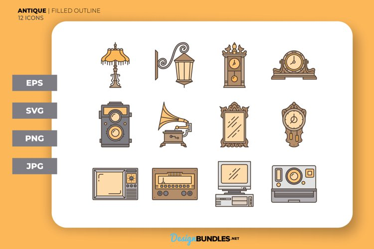 Antique Icons - Filled Outline example image 1