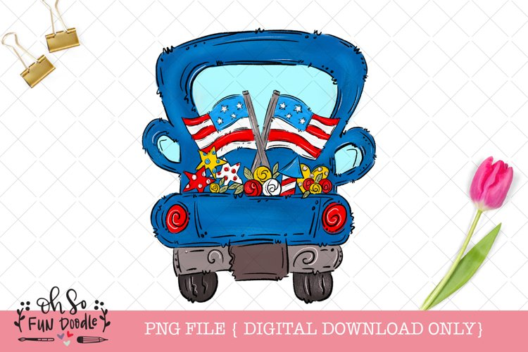 Patriotic truck with American flag, sublimation png, doodle example image 1