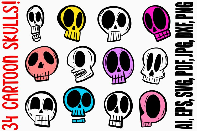 34 Cartoon Human Skulls Collection for Halloween and Spooky example image 1