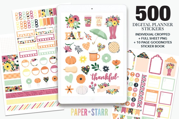 500 Fall Digital Planner Stickers