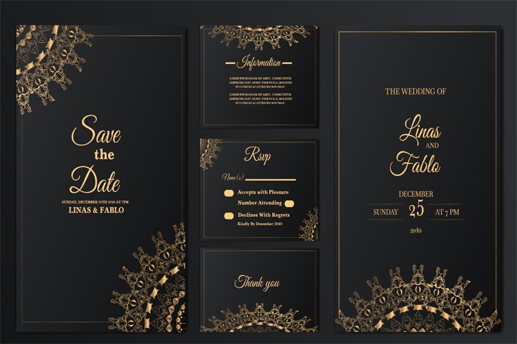 set collection luxury wedding invitation card template example image 1