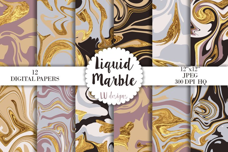 Liquid Marble Digital Papers, Marble Patterns, Gold Marble example image 1
