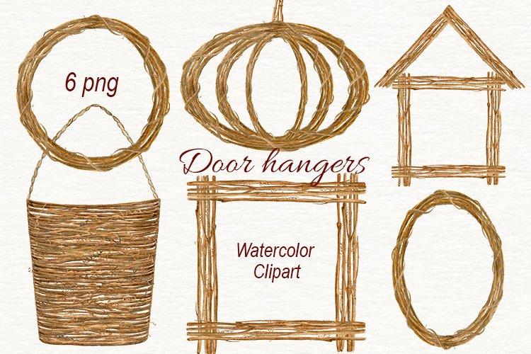 Watercolor vine door hangers. Wreath, square wreath, pumpkin