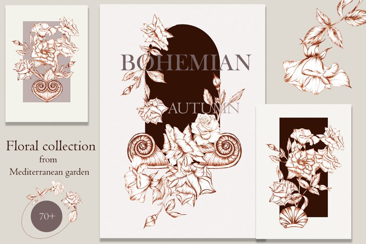BOHEMIAN AUTUMN, botanical Illustrations for wedding,vintage