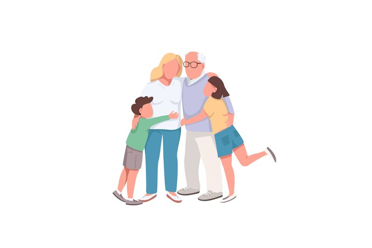 Different generations flat color vector faceless characters example image 1