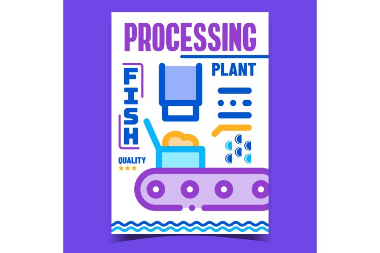 Fish Plant Processing Advertising Poster Vector example image 1