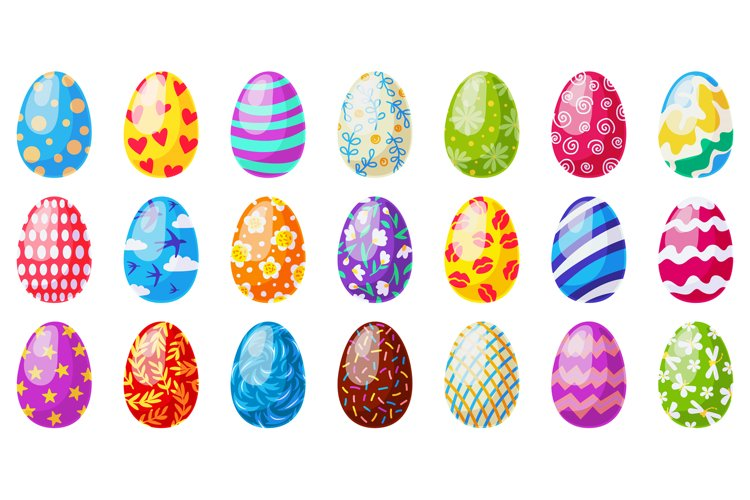 Cartoon easter eggs. Spring holiday chocolate egg, tradition example image 1