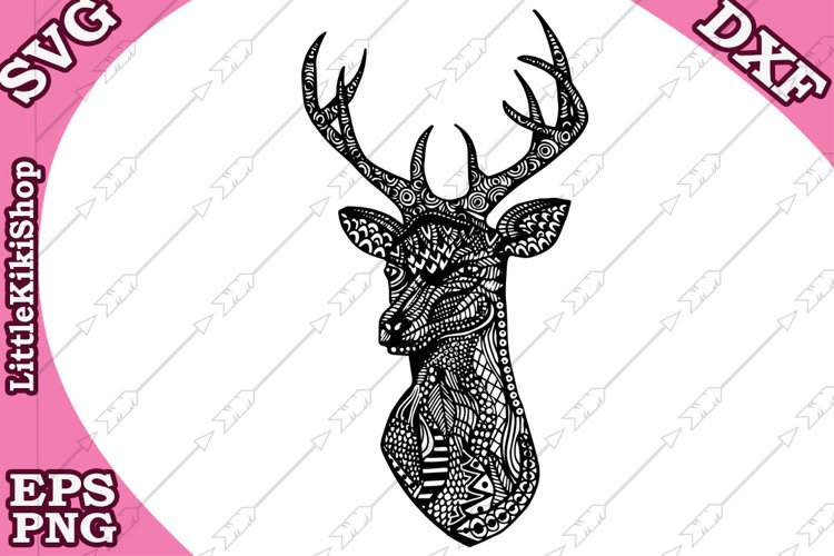 Deer Head Svg, MANDALA DEER SVG,Zentangle Svg,Coloring page