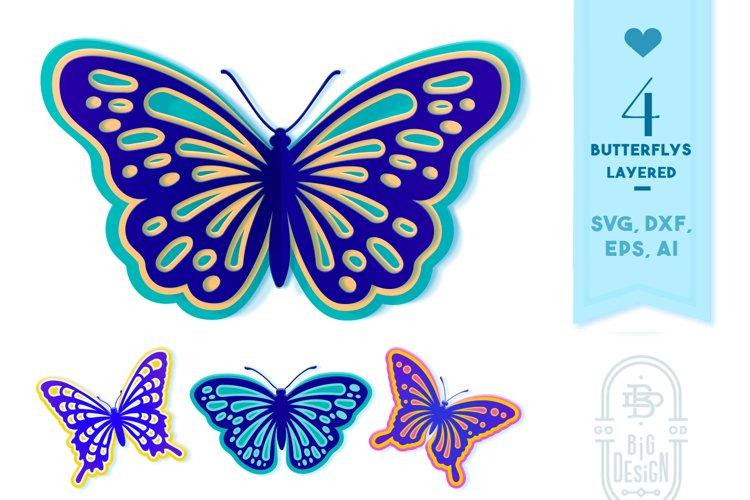 Layered Butterflies SVG | 4 Butterfly Paper Cut SVG Designs