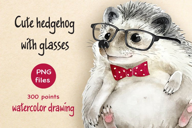 cute hedgehog with glasses watercolor drawing example image 1