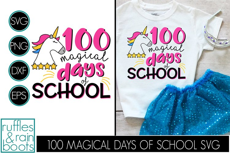 100 Magical Days of School Unicorn SVG - 100 Days SVG example image 1