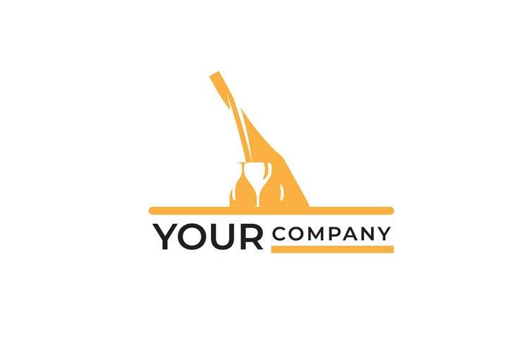 luxury gold bottle and glasses wine logo design example image 1