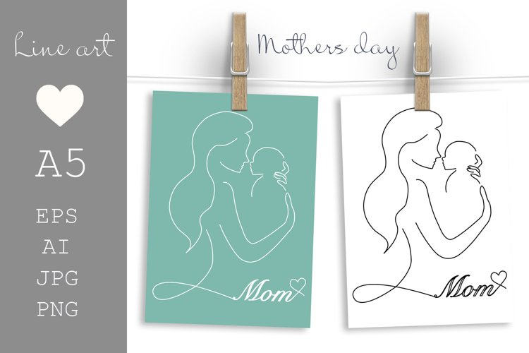 Mothers day card printable, Mom and Baby, Line art example image 1