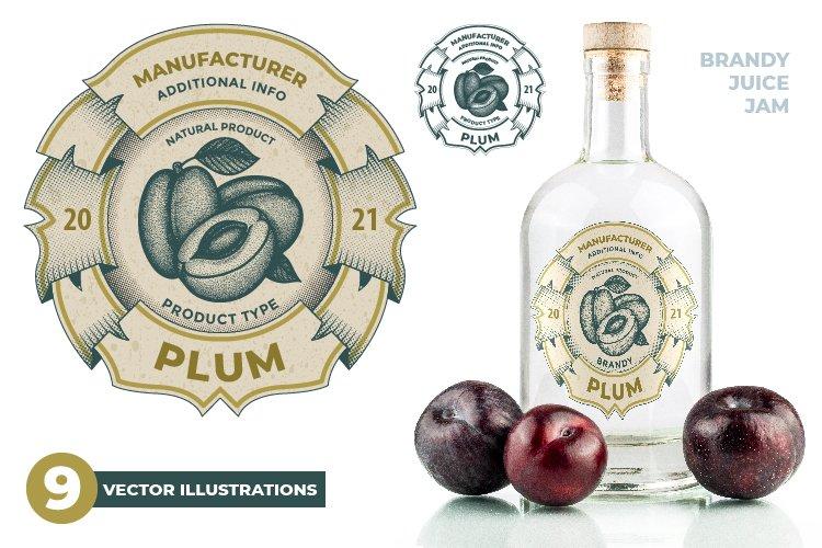 Plums. Hand drawn plum label vector illustrations set.
