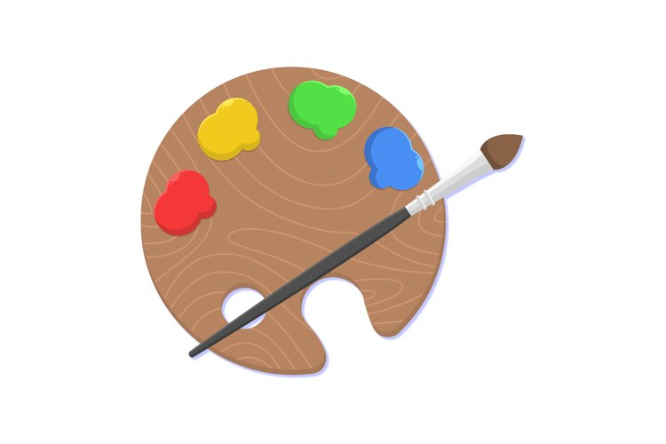 Paint Brush and Pallete Clipart example image 1