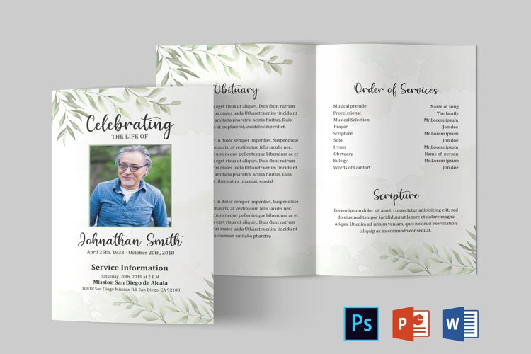 Funeral Program Template | Obituary Template