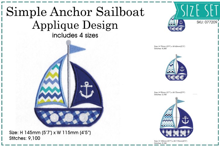 Simple Anchor Sailboat Applique Design