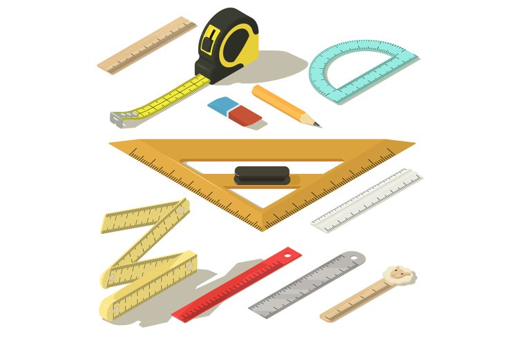 Ruler measure pencil icons set, isometric style example image 1
