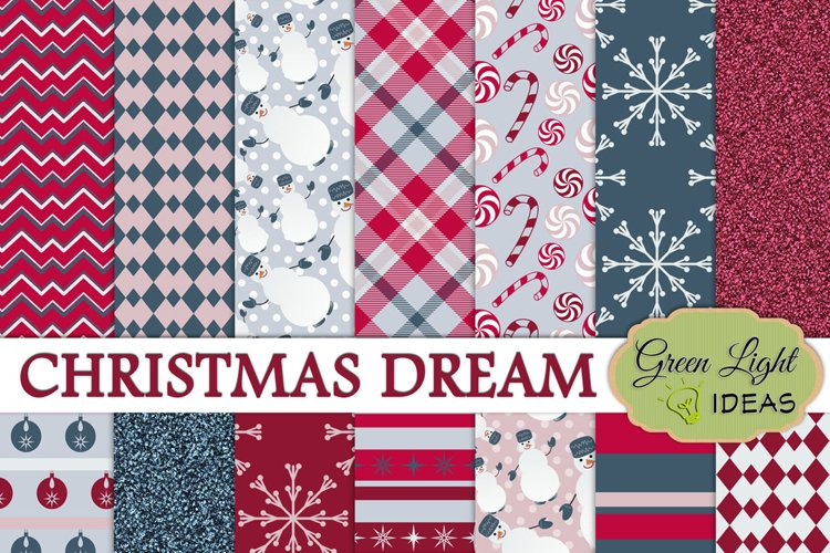 Christmas Digital Papers,, Winter Holidays Backgrounds example image 1