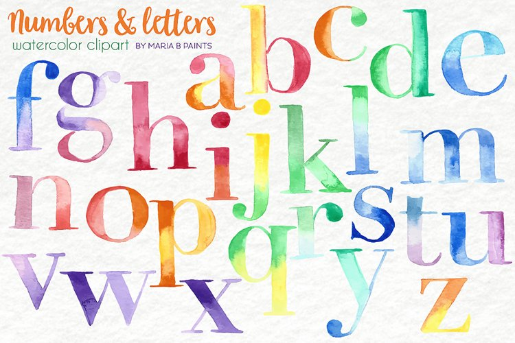 Watercolor Clip Art - Letters, No.s example image 1