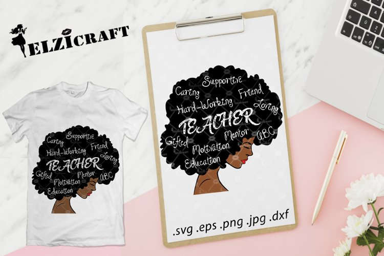 Afro Woman Teacher Life SVG Cut File example image 1