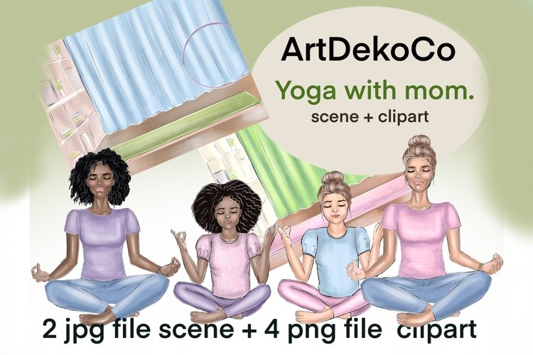 Yoga clipart, women and children png, pictures with girls