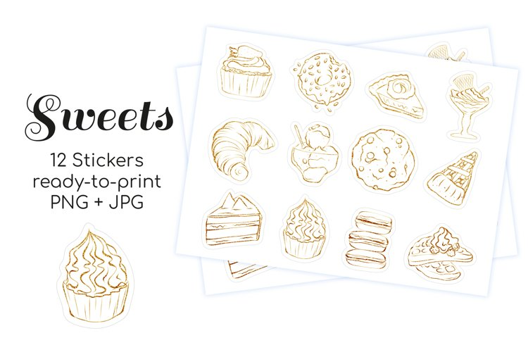12 Printable Gold Sweet Desserts Stickers for print and cut