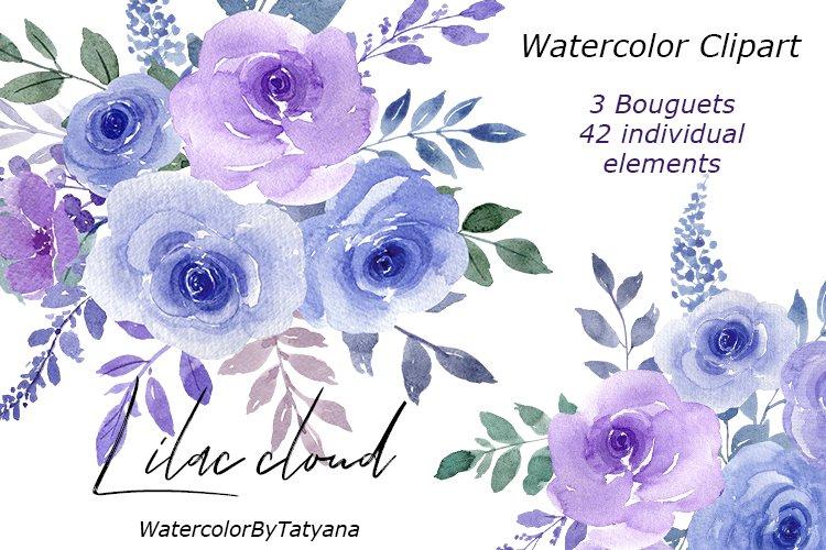 Watercolor flowers Lilac Lavender color Clipart Light Purple