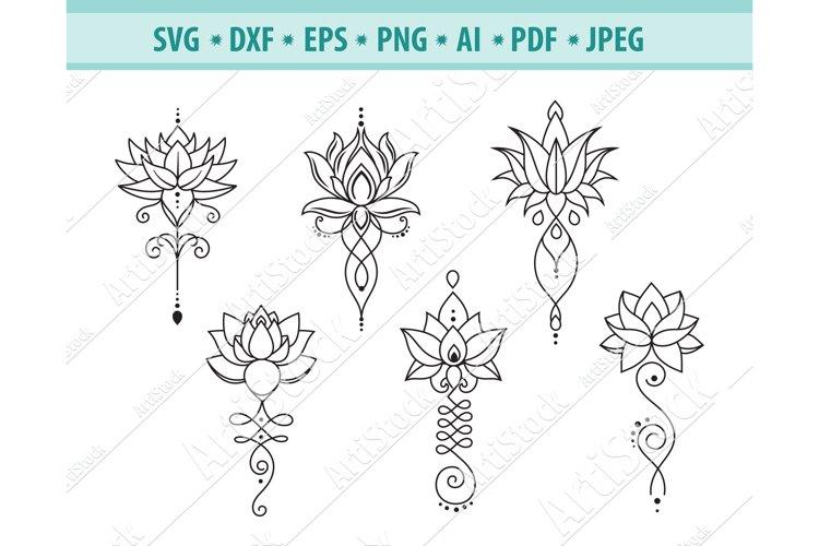 Lotus Svg, Lotus Mandala Svg, Yoga sigh Svg, Png, Eps, Dxf example image 1