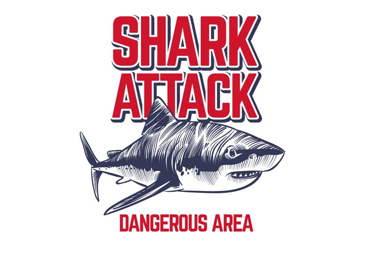 Wild attacking shark. Scary jaws of shark. Vintage ocean sur example image 1