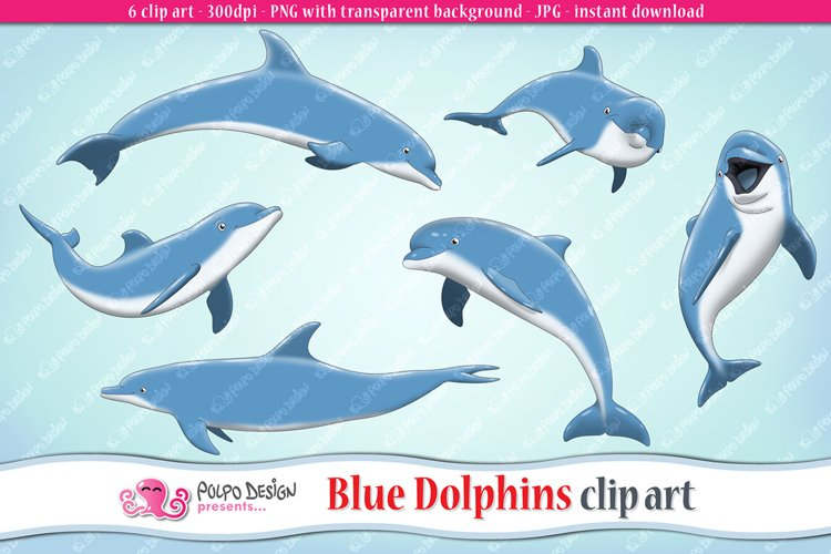 Blue Dolphins clip art example image 1