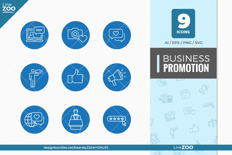 Business Promotion and Social Media Icon Set with Thumbs Up
