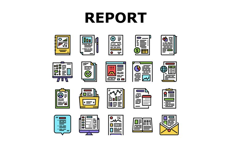 Reports Documentation Collection Icons Set Vector example image 1