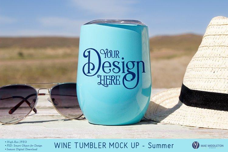 Wine Tumbler Mock up - Summer, styled photo