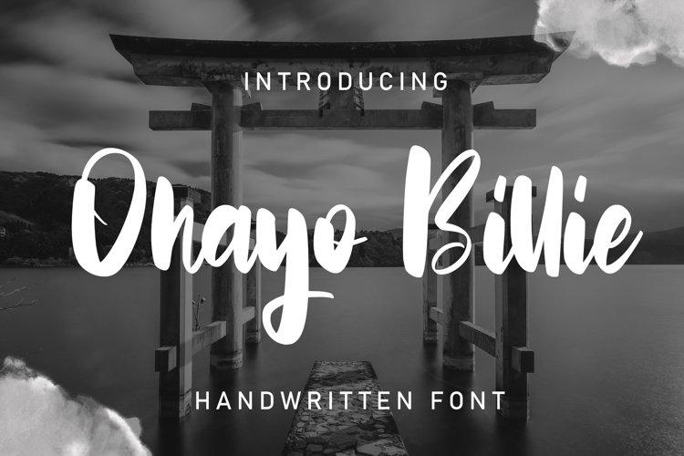 Ohayo Billie | Handwritten Font example image 1