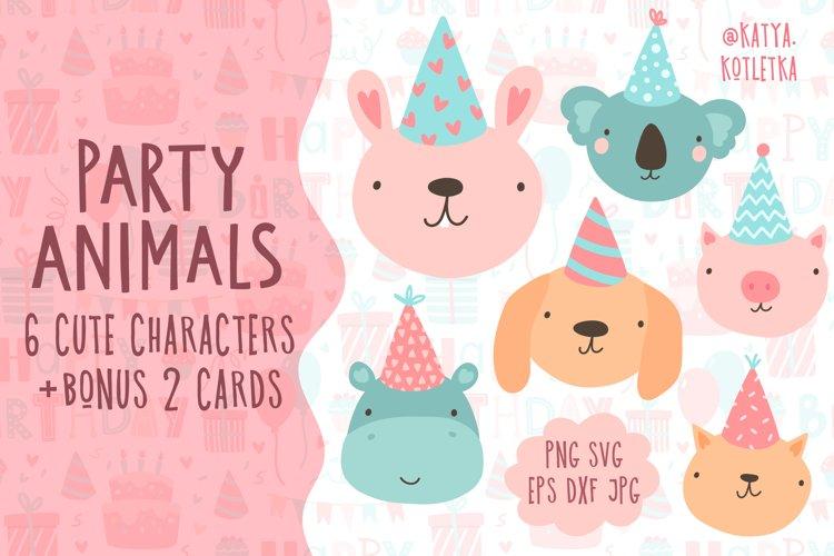 Birthday Party Animals SVG Illustrations. Cute Cartoon Art