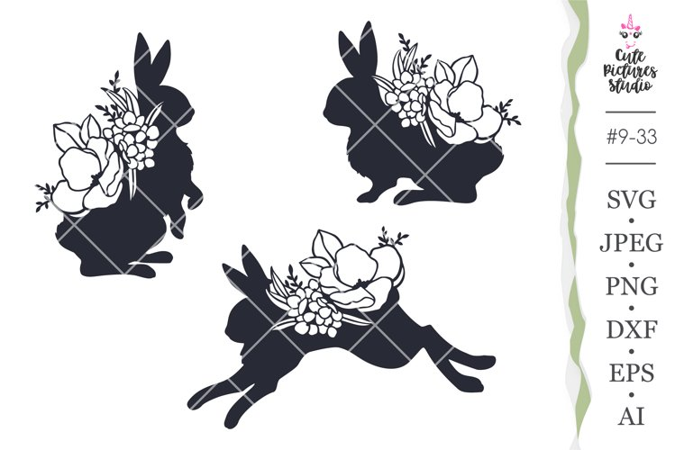 Set of Easter floral bunny Cricut SVG cut file