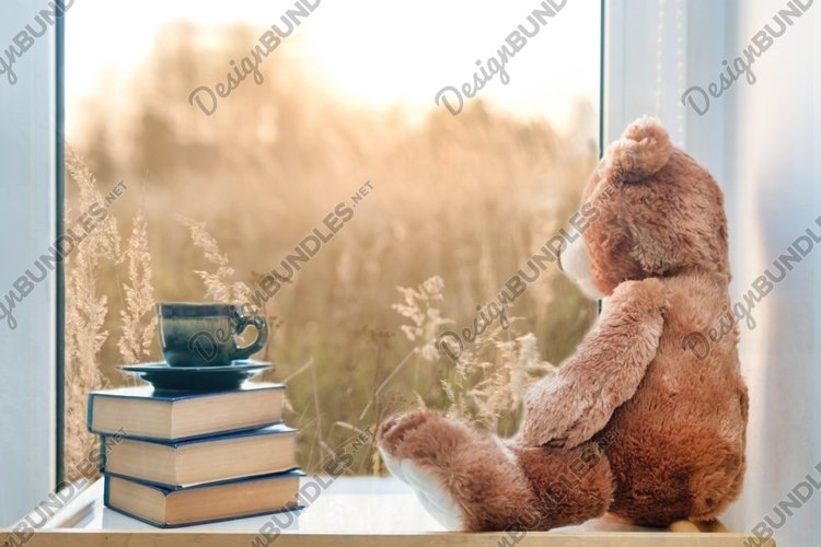 Teddy bear with cup of coffee and books on window still. example image 1