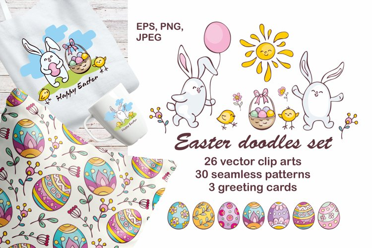 Easter doodles set.  Vector clip arts and seamless patterns. example image 1