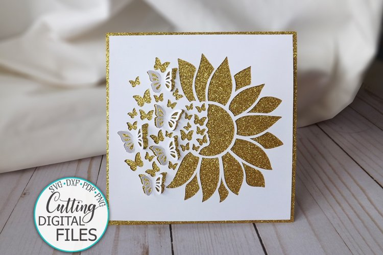 Pop up sunflower butterflies card svg dxf cut out template