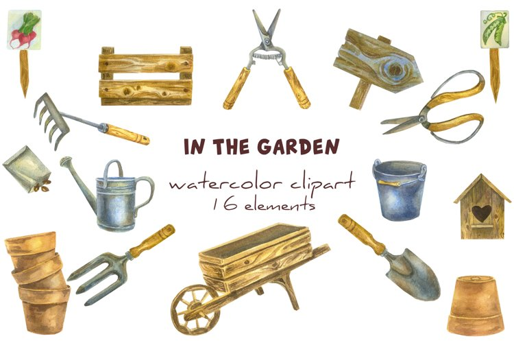 Gardening tools watercolour sublimation