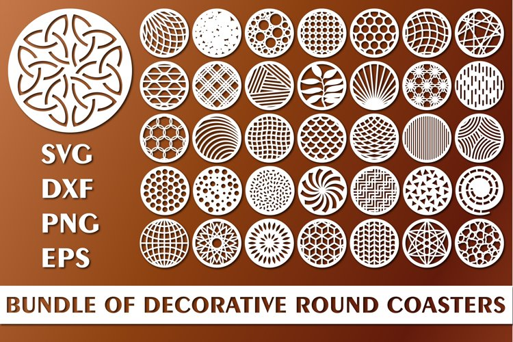 Bundle of Decorative Circle Coasters. Coaster SVG. Laser cut