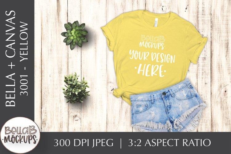 Bella Canvas 3001 Woman's T Shirt Mockup, Yellow, Flat Lay example image 1