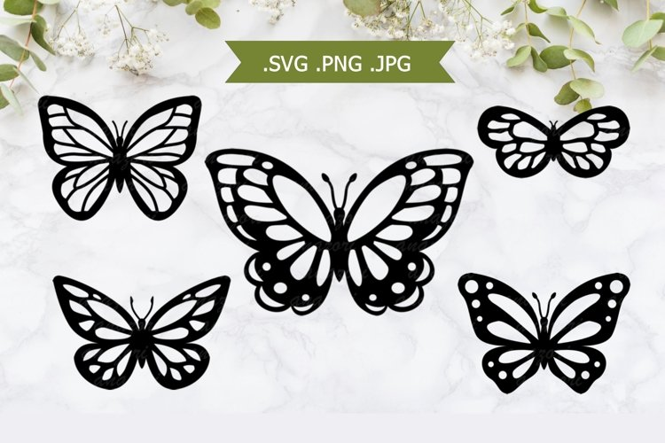 Butterfly SVG - Butterfly Papercut Template example image 1
