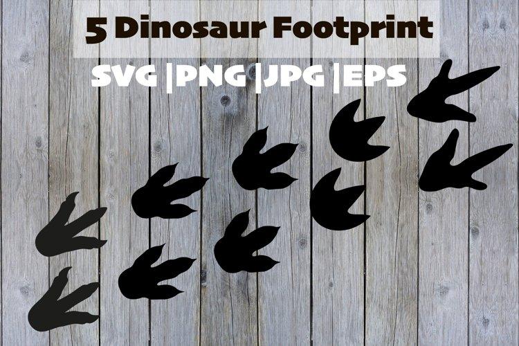 5 Dinosaur footprints. Reptile foot, ancient predator.