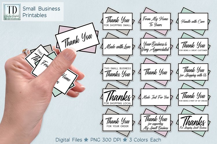 Small Business Printable Stickers, Cards Vol 1, Print & Cut